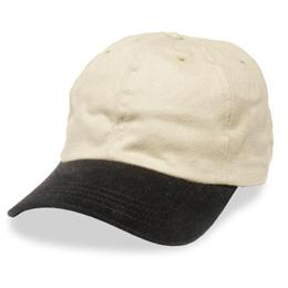 Cream with Black Visor - Unstructured Baseball Cap