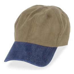 Dark Khaki with Denim Visor - Unstructured Baseball Cap