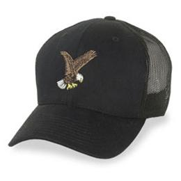 Black Mesh with Eagle Logo - Structured Baseball Cap