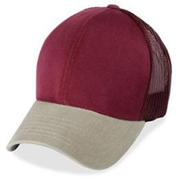 Burgundy Mesh with Cream Visor - Structured Baseball Cap