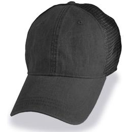 Black with Mesh Weathered - Unstructured Baseball Cap