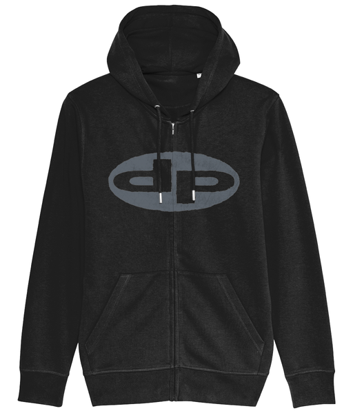 full zip logo front optical back print hoodie