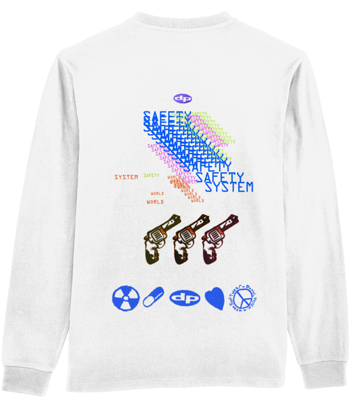 safety system back print long sleeve tee