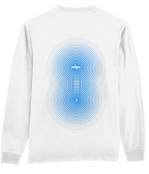 optical back print long sleeve tee white