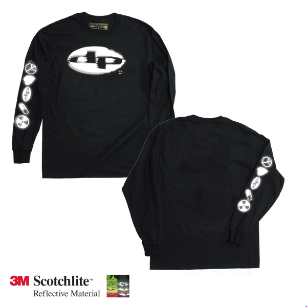 Reflective dpdanielpoole logo  long sleev t-shirt – Black LS