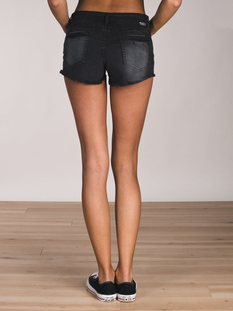 WOMENS BUTTONED UP SHORT - BLACK- CLEARANCE