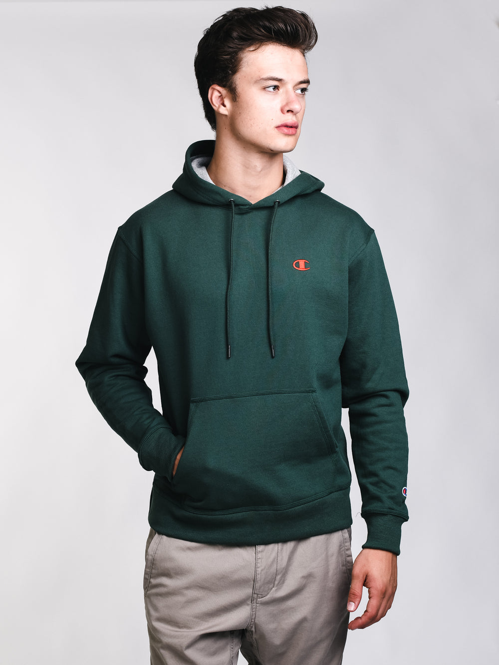 MENS COLOUR POP PULL OVER HOODIE- GREEN
