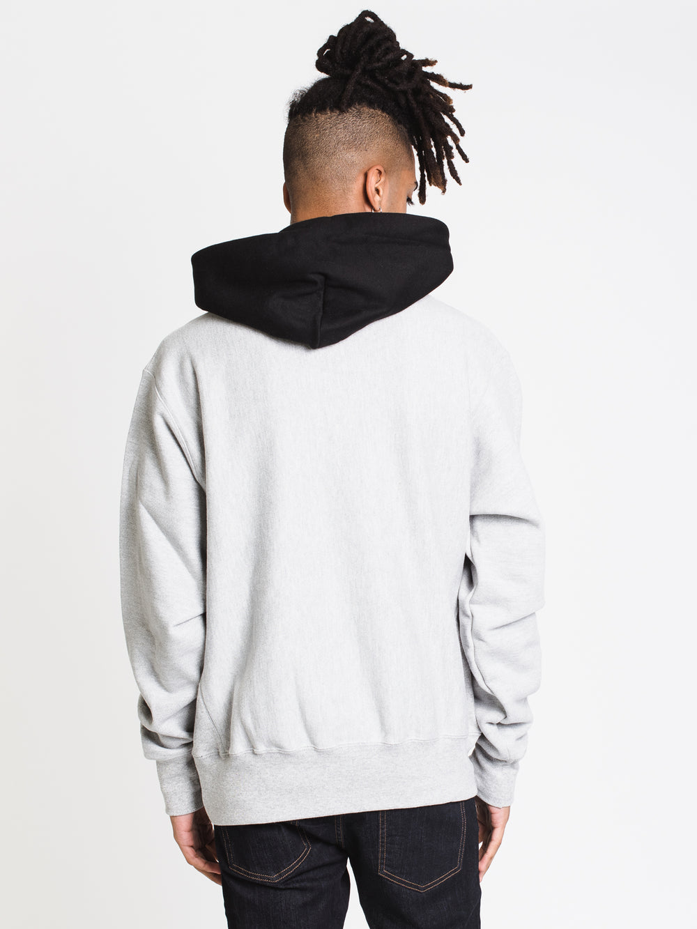 MENS RW COLOUR BLOCKPULL OVER HOODIE - GRY/BLK