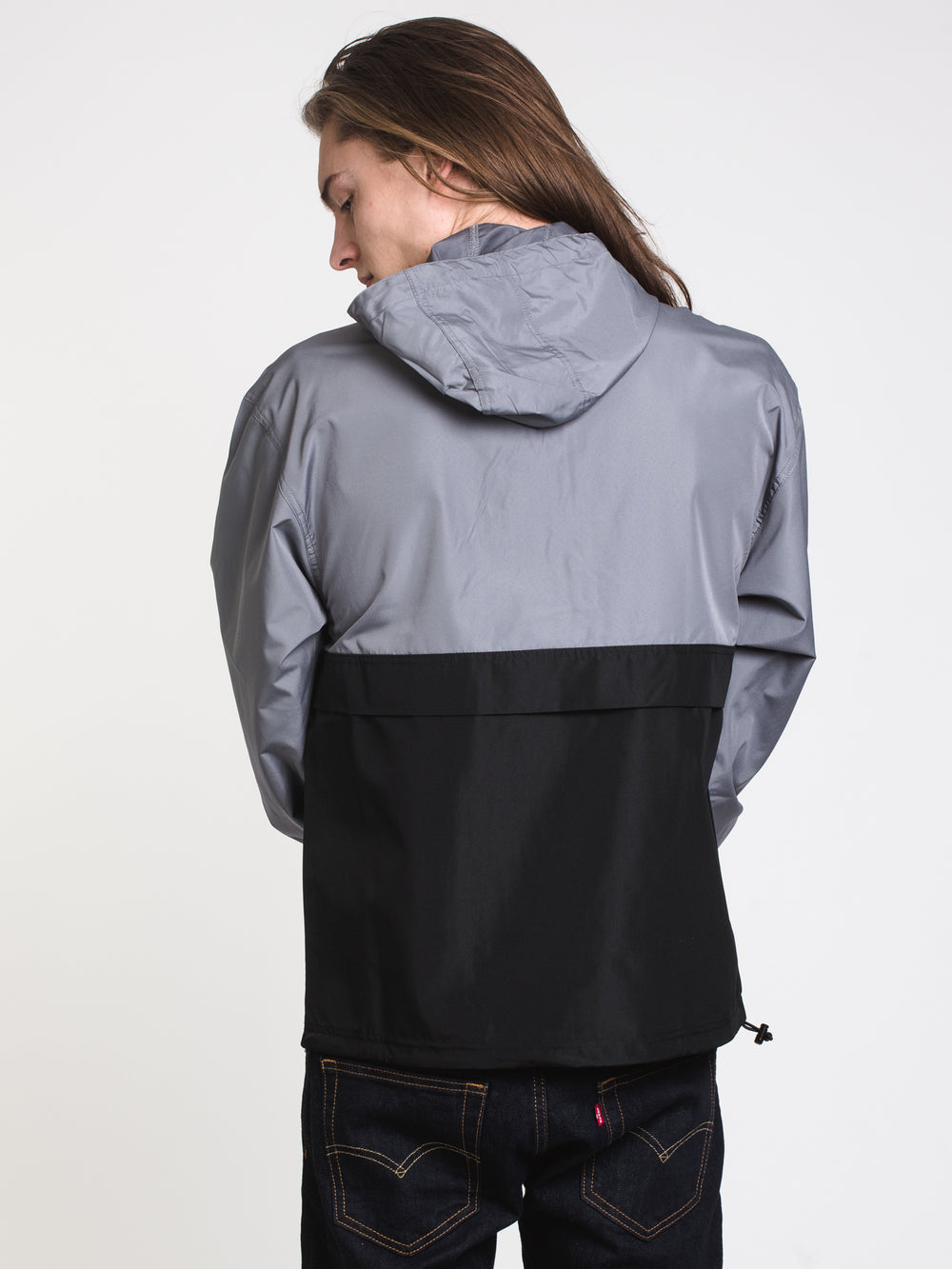 MENS PACKABLE COLOURBLOCK JACKET - BLK/GRY