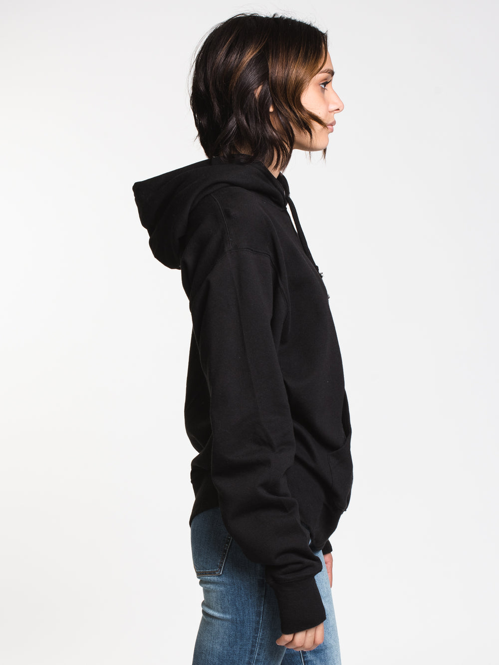 WOMENS OVERSIZED VNTG DYE PULL OVER HD-BLK