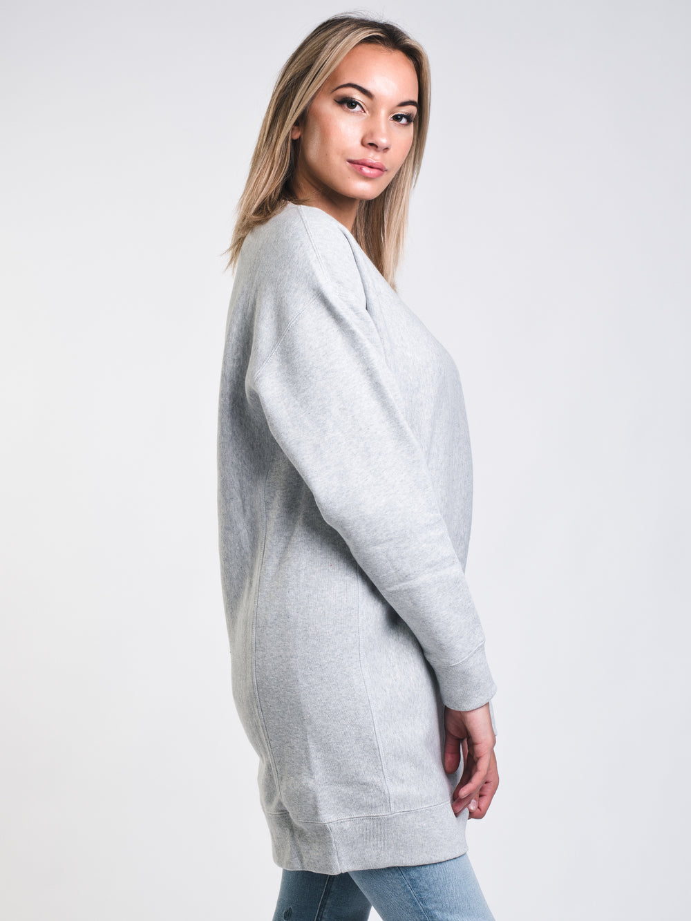 WOMENS OVERSIZED LONG SLEEVE CREW - OX GREY
