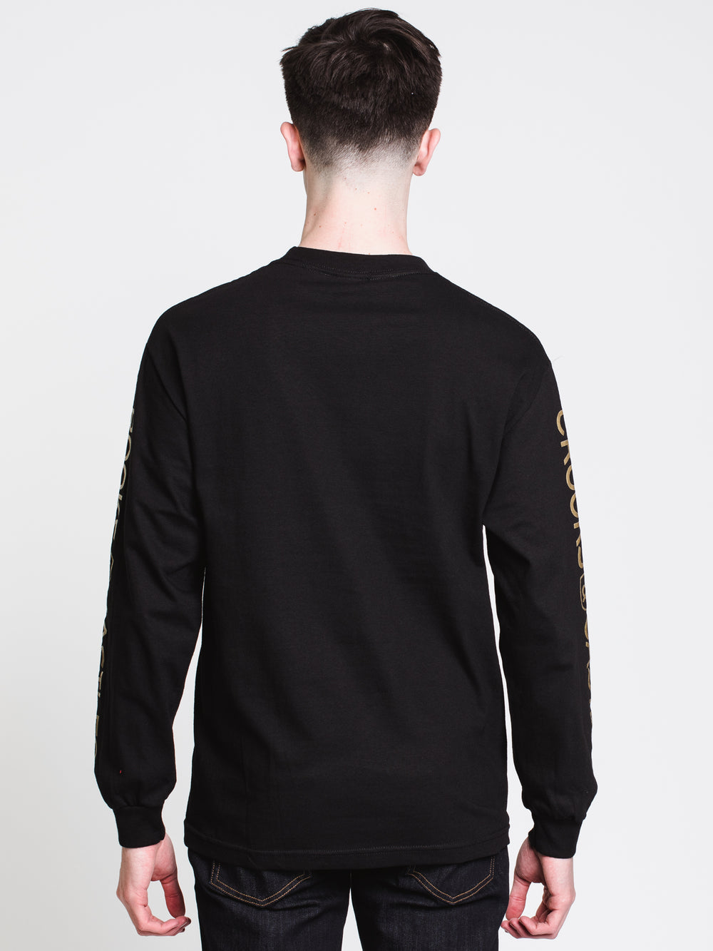 MENS GOLD DUEL SNAKES LONG SLEEVE T-SHIRT - BLACK