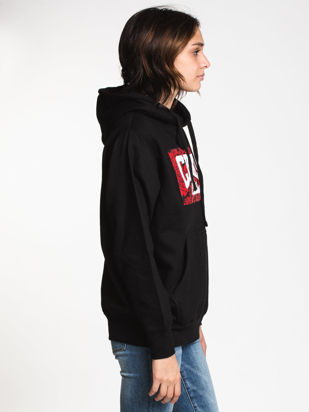 WOMENS ROSES CORE LOGO PULL OVER HD - BLK