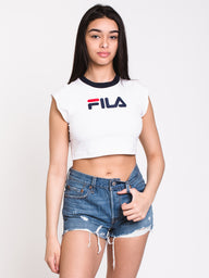 WOMENS PIA ARCHIVE CROP TEE - WHITE