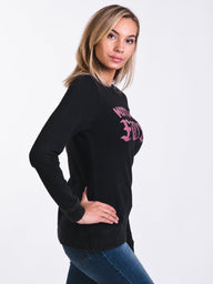 WOMENS MOTO X CREW LONG SLEEVE T-SHIRTEE - BLACK - CLEARANCE