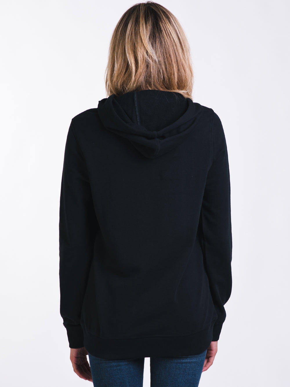 WOMENS RETRO PULLOVER HOODY - BLACK - CLEARANCE