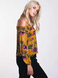 WOMENS CANDICE FLORAL OFF THE SHOULDER TOP