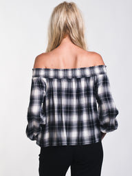 WOMENS CANDICE PLAID OFF THE SHOULDER TOP