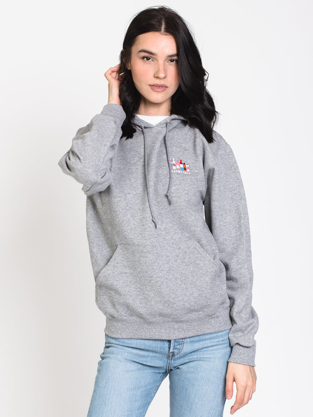 ESSENTIALS EMB HOODY - GRY