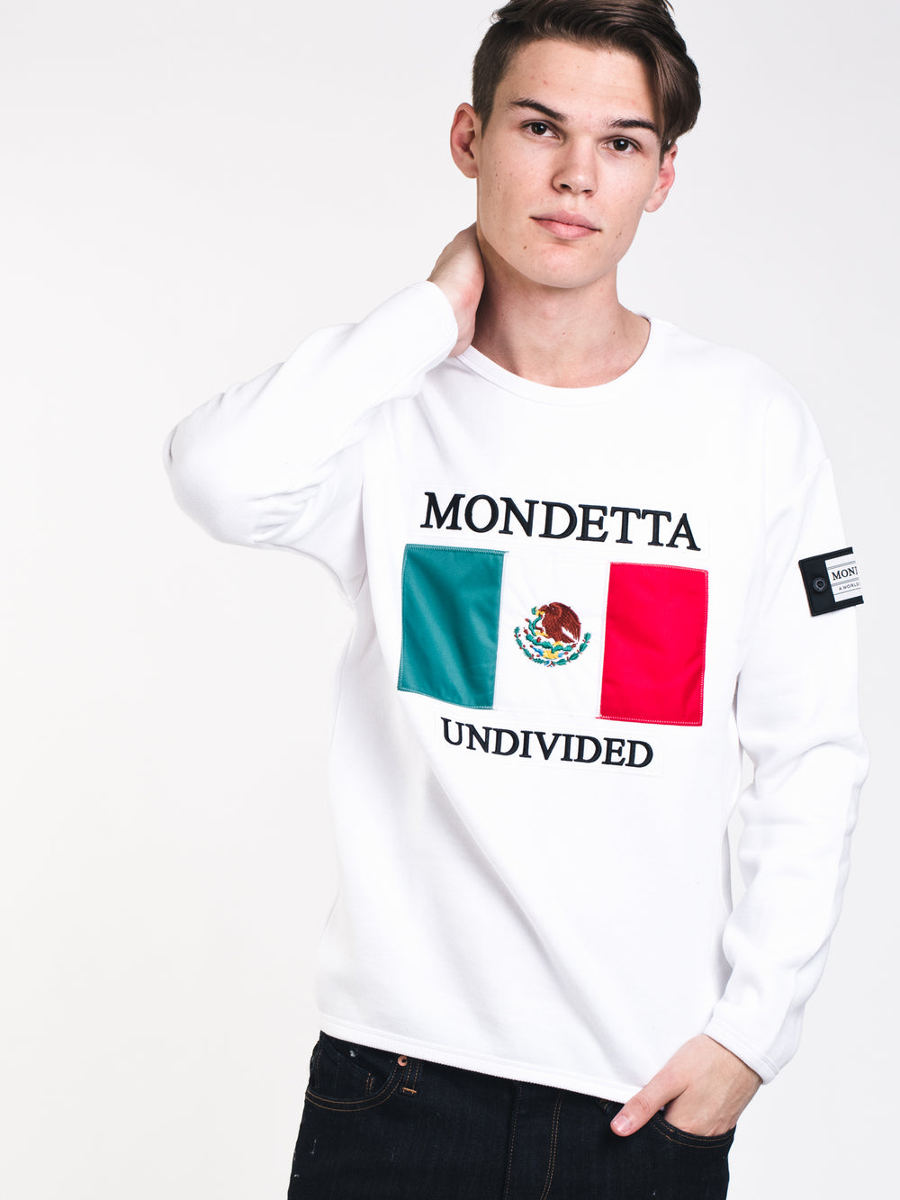 MENS MONDETTA MEXICO CREW - WHITE - CLEARANCE
