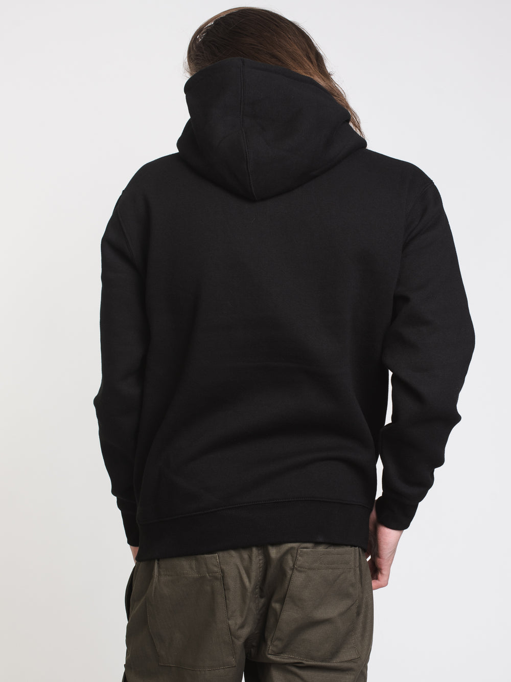 MENS BOX EXCLAMATION PULLOVER HOODIE - BLACK