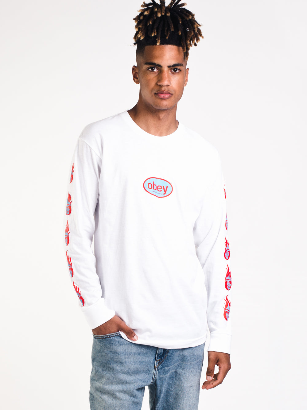MENS OBEY CREEPER FLAME LONG SLEEVE T-SHIRT - CLEARANCE