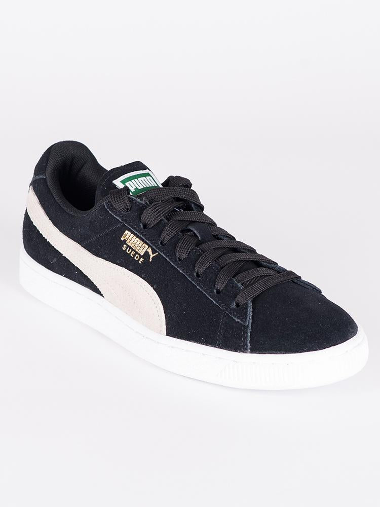 WOMENS SUEDE CLASSIC NOIR/BLANC SNEAKERS - CLEARANCE