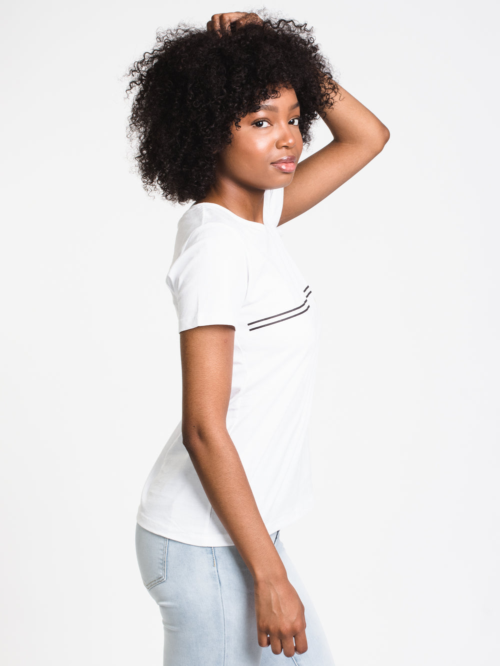 WOMENS CLASSIC DOT S/S FITTED TEE-WHT