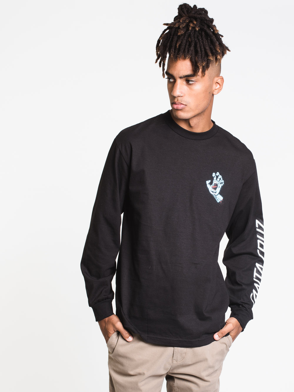 MENS SCREAMING HAND LONG SLEEVE TEE - BLACK