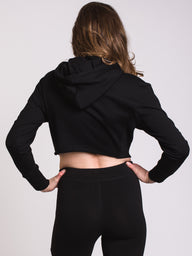 WOMENS RAW EDGE Pullover HOODIE - BLACK - CLEARANCE