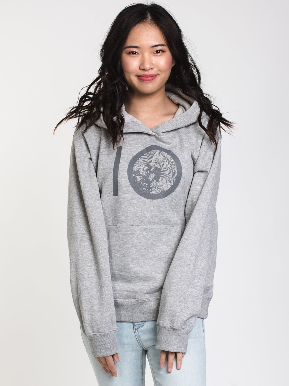 WOMENS FLORAL ALL OVER PRINT PULLOVER HOODIE - GREY
