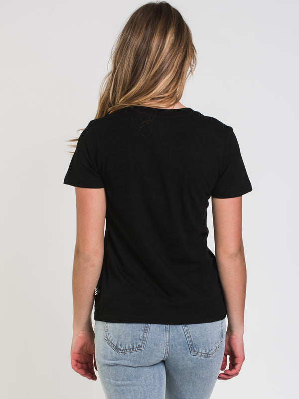 WOMENS DYED BOX SHORT SLEEVE TEE - BLACK