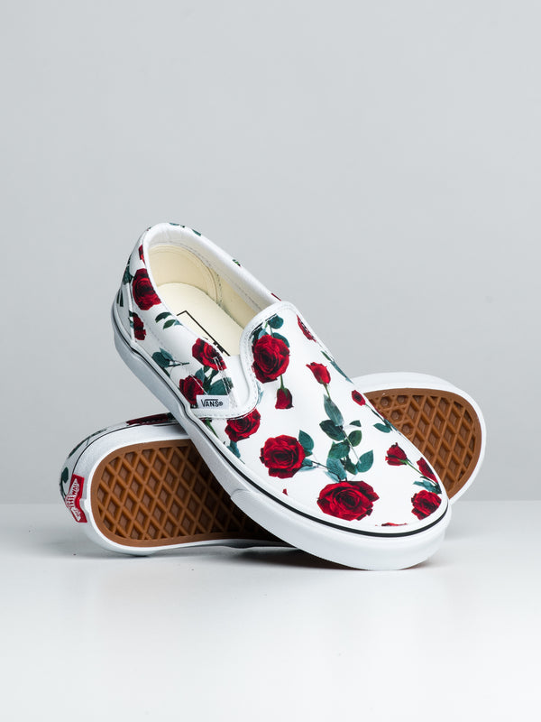 WOMENS CL SLIP ON - RED ROSE/WHITE