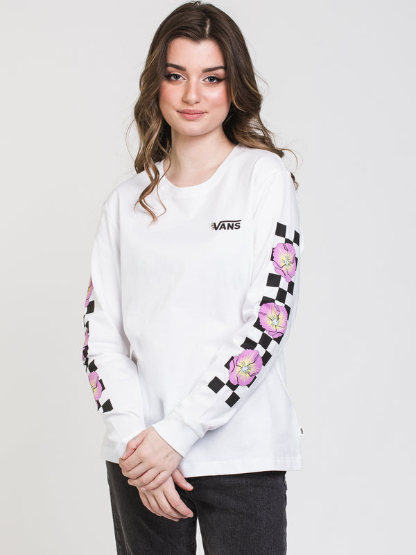 WOMENS BLOOM CHECKZ BF LONG SLEEVE TEE - WHT