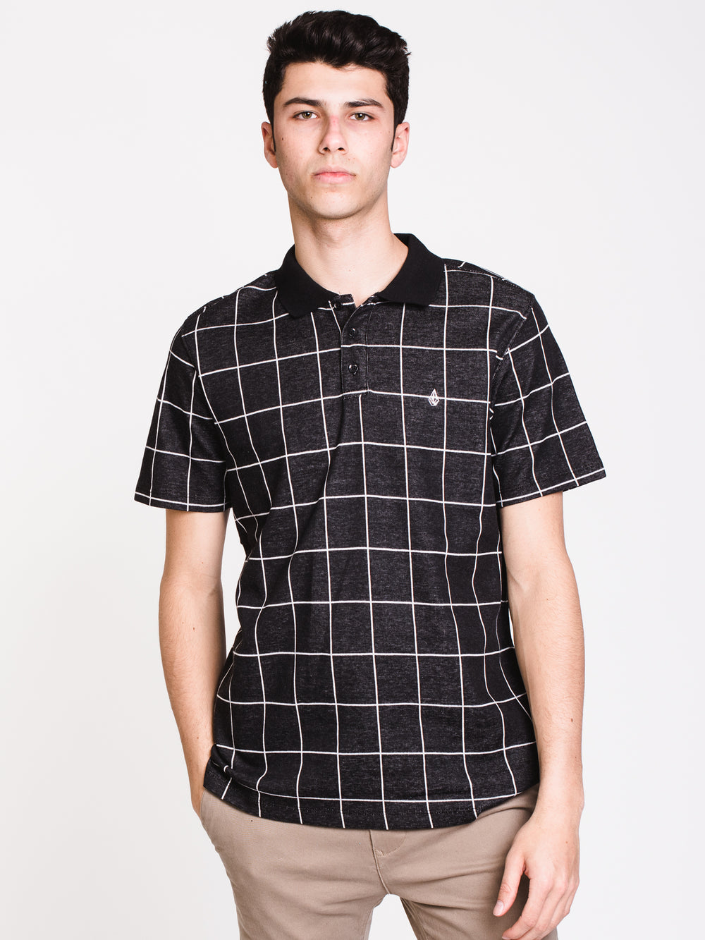 MENS WOWZER PLAID SHORT SLEEVE POLO - BLK