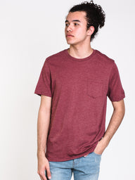 MENS HEATHER SHORT SLEEVE PCKT T - MAROON