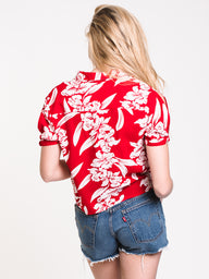 WOMENS ALOHA HA SHORT SLEEVE - RED