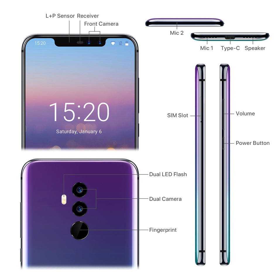 Umidigi Z2 6.2Notch Full Screen Smartphone Android 8.1 6Gb Ram 64Gb Rom Helio P23 Octa Core 16Mp Quad Camera 4G Lte Cell Phones