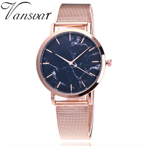 Vansvar Brand Fashion Silver And Gold Mesh Band Creative Marble Wrist Watch Casual Women Quartz Watches Gift Relogio Feminino - Rose Gold