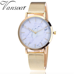 Vansvar Brand Fashion Silver And Gold Mesh Band Creative Marble Wrist Watch Casual Women Quartz Watches Gift Relogio Feminino - Gold