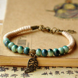 Leaves Bracelets Women Men - Green