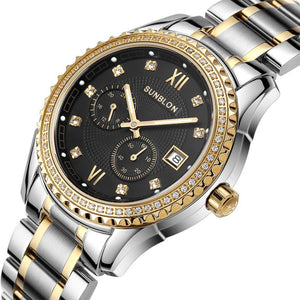 Sunblon Two-Way Timing Movement Stainless Mens Automatic Mechanical Watch - Gold