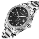 Sunblon Two-Way Timing Movement Stainless Mens Automatic Mechanical Watch - Black
