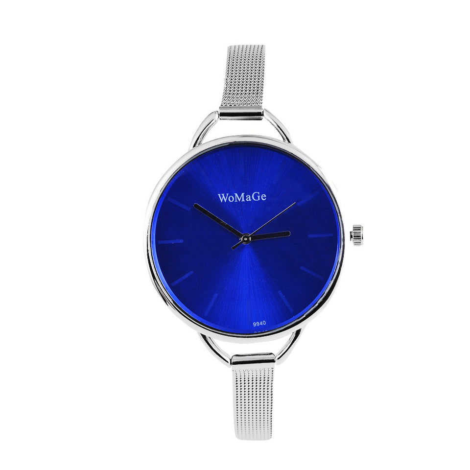 Womage Brand Watch Fashion Womens Watches Ladies Wrist Watch Clock  - Silver Blue