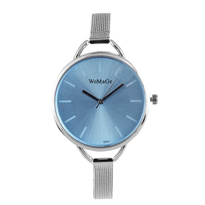 Womage Brand Watch Fashion Womens Watches Ladies Wrist Watch Clock  - Silver Light Blue