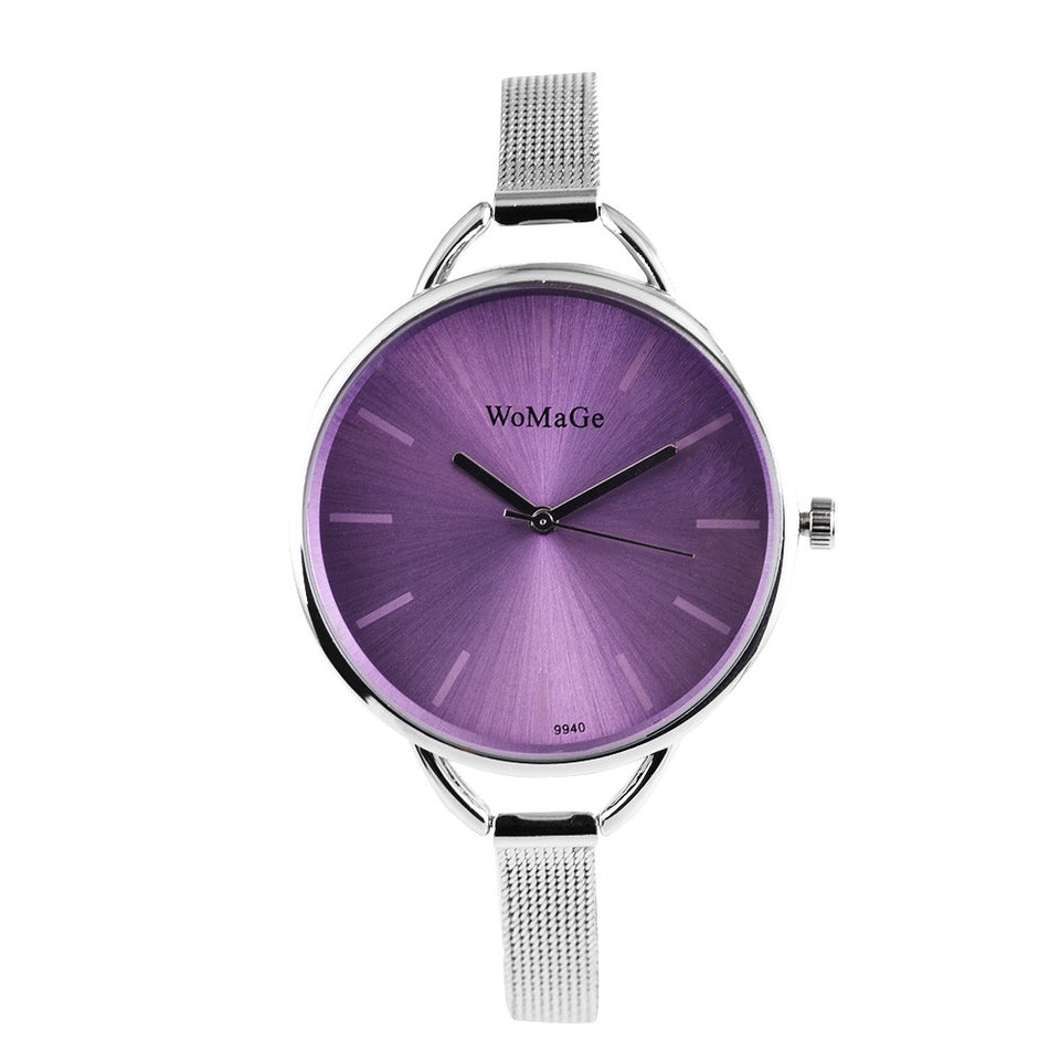 Womage Brand Watch Fashion Womens Watches Ladies Wrist Watch Clock  - Silver Purple