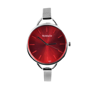 Womage Brand Watch Fashion Womens Watches Ladies Wrist Watch Clock  - Silver Red