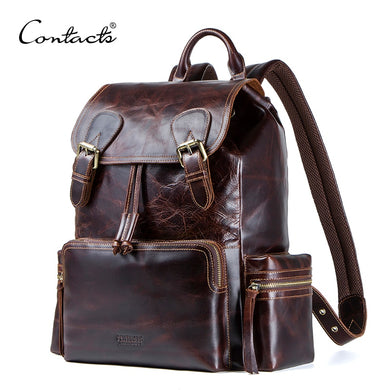 Crazy horse cowhide leather men's backpack travel bag