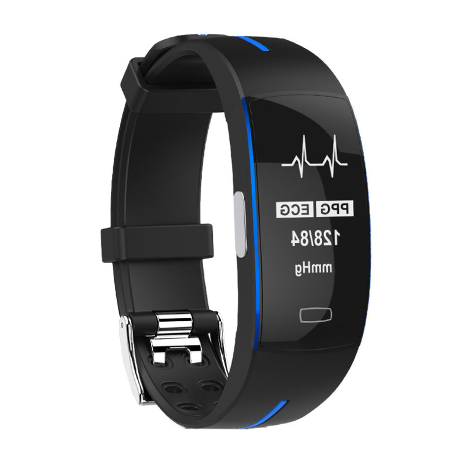P3 Smart Band Ppg Ecg Monitor Blood Pressure Watch Real-Time Heart Rate Sport Fitness Tracker Smart Bracelet For Ios Android - Blue