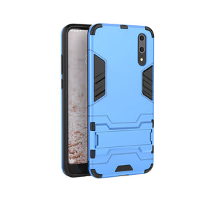 Heavy Duty Shockproof Hybrid Combo Rugged Phone Case Hard Phone Shell Cover With Kickstand Holder For Huawei P20 - Blue
